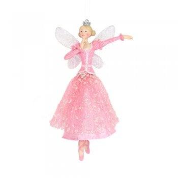 Gisela Graham Fabric & Resin Pink Dancing Fairy (Arm Side) Christmas Tree Decoration