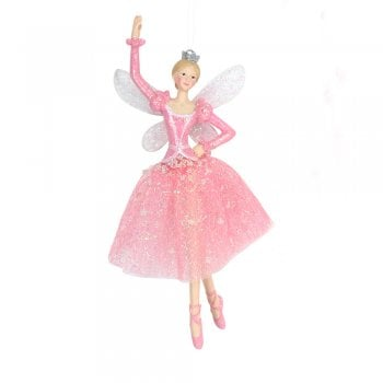 Gisela Graham Fabric & Resin Pink Dancing Fairy (Arm up) Christmas Tree Decoration