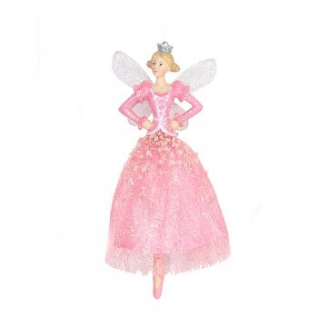 Gisela Graham Fabric & Resin Pink Dancing Fairy (Arms on Hips) Christmas Tree Decoration