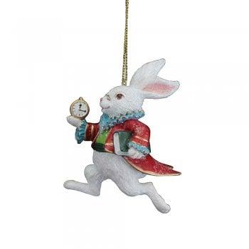 Gisela Graham White Rabbit Resin Christmas Tree Decoration