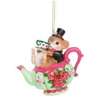 Gisela Graham Dormouse in a Teapot Resin Christmas Tree Decoration