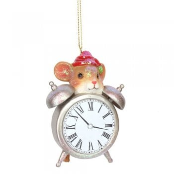 Gisela Graham Dormouse with Clock Resin Christmas Tree Decoration