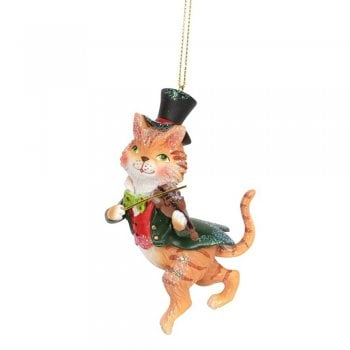 Gisela Graham Cat and Fiddle Resin Christmas Tree Decoration