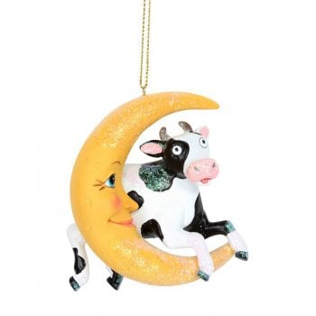 Gisela Graham Cow Jumping Over the Moon Christmas Tree Decoration