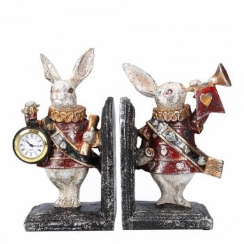 Gisela Graham Set of 2 Gisela Graham White Rabbit Heralds with Trumpet & Watch Bookends