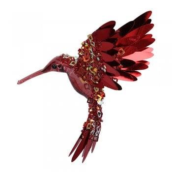 Gisela Graham Burgundy Acrylic & Sequin Hummingbird Christmas Tree Decoration (seconds)