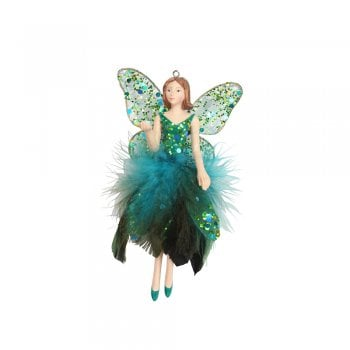 Gisela Graham Peacock Feather Fairy (Hand Up) Christmas Tree Decoration