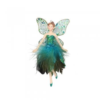 Gisela Graham Peacock Feather Fairy (Arms Outstretched) Christmas Tree Decoration