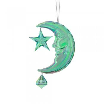 Gisela Graham Green Acrylic Crescent Moon with Star Christmas Tree Decoration