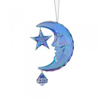 Gisela Graham Blue Acrylic Crescent Moon with Star Christmas Tree Decoration