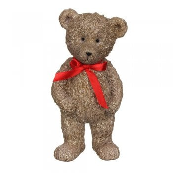 Gisela Graham Resin Standing Teddy with a Red Bow Ornament