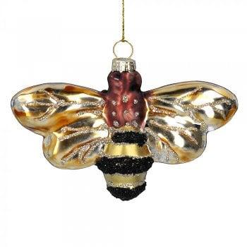 Gisela Graham Painted Glass Bumble Bee Christmas Tree Decoration