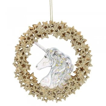 Gisela Graham Unicorn Head in a Wooden Wreath of Stars Christmas Tree Decoration