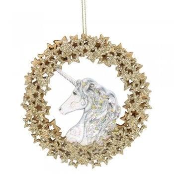 Gisela Graham Unicorn Head in a Wooden Wreath of Stars Christmas Tree Decoration