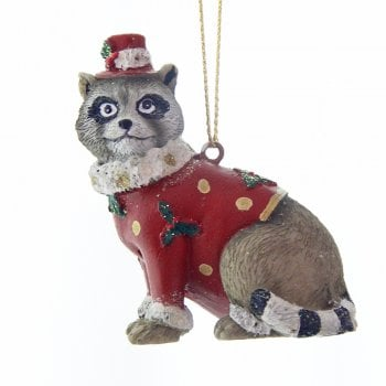Gisela Graham Raccoon in a Hat Christmas Tree Decoration
