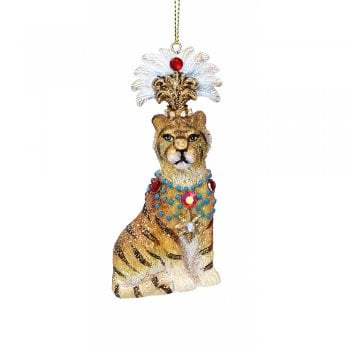 Gisela Graham Sitting Tiger with Headdress Christmas Tree Decoration