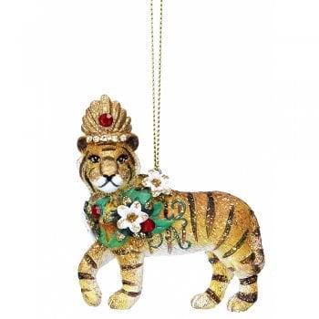 Gisela Graham Standing Tiger with Headdress Christmas Tree Decoration