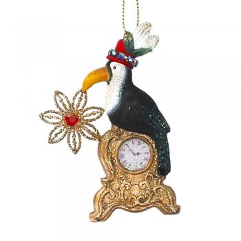 Gisela Graham Fantasy Toucan with a Clock Christmas Tree Decoration