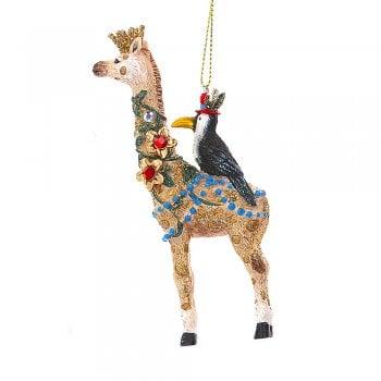 Gisela Graham Fantasy Giraffe with a Toucan Christmas Tree Decoration