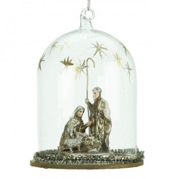 Gisela Graham Nativity Scene Glass Dome Christmas Tree Decoration