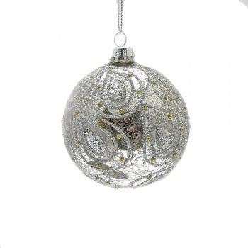 Gisela Graham Antiqued Silver with Glitter Paisley Glass Bauble Christmas Tree Decoration