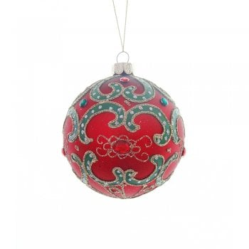 Heaven Sends Matte Red & Green Swirls Bauble Christmas Tree Decoration