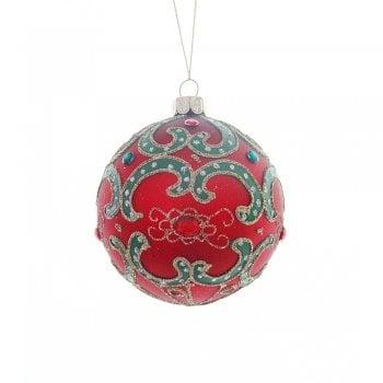 Heaven Sends Matte Red & Green Swirls Bauble Christmas Tree Decoration