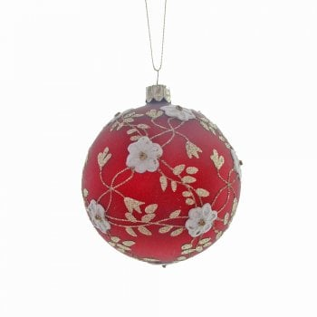 Heaven Sends Matte Red With White Flowers Bauble Christmas Tree Decoration