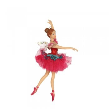Gisela Graham Resin & Fabric Nutcracker Ballerina Fairy Christmas Tree Decoration