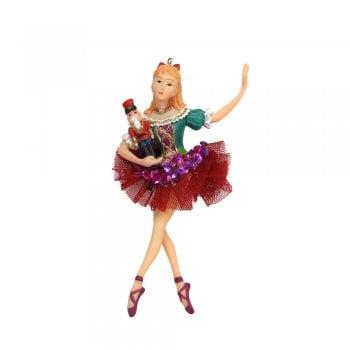 Gisela Graham Resin & Fabric Nutcracker Clara Fairy Christmas Tree Decoration