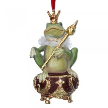 Gisela Graham Venetian Carnival Frog Sitting on a Pot (with sceptre) Christmas Tree Decoration