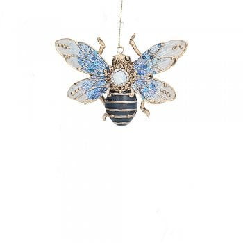 Gisela Graham Jeweled (Blue Wings) Insect Christmas Tree Decoration
