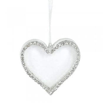 Gisela Graham Clear Glass Heart with Diamante Edge Hanging Decoration