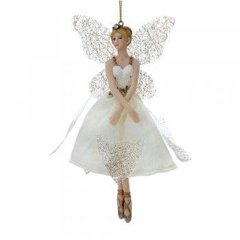 Gisela Graham Cream & Gold Ballerina Fairy (Hands Crossed) Christmas Tree Decoration