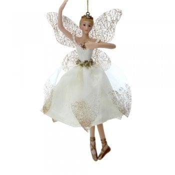 Gisela Graham Cream & Gold Ballerina Fairy (Arm Up) Christmas Tree Decoration