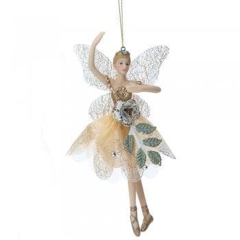 Gisela Graham Cream & Gold Fairy with Rose (Arm Up) Christmas Tree Decoration