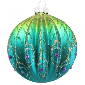 Gisela Graham Ribbed Glass Peacock Bauble Christmas Tree Decoration
