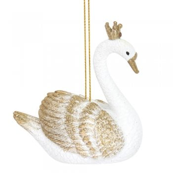 Gisela Graham White & Gold Resin Swan Christmas Tree Decoration