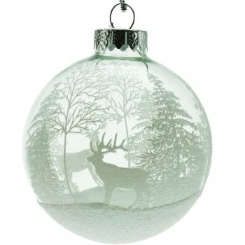 Gisela Graham Clear Glass Bubble with Stag & Trees Winter Scene Christmas Tree Decoration
