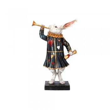 Gisela Graham Small White Rabbit Herald with Trumpet Figurine