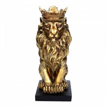 Gisela Graham Gold Sitting Lion Wearing a Crown Ornament