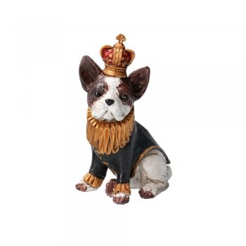 Gisela Graham Brown and White French Bulldog Wearing a Jacket and Crown Ornament