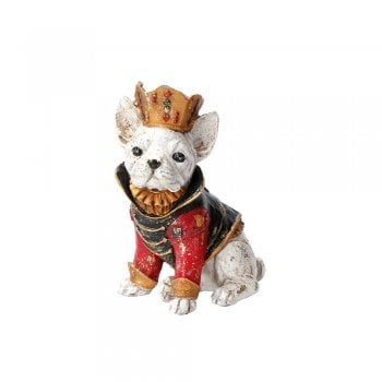 Gisela Graham White French Bulldog Wearing a Jacket and Crown Ornament
