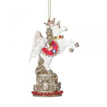 Gisela Graham Unicorn on a Plinth Christmas Tree Decoration