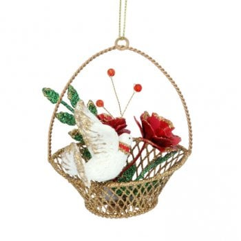 Gisela Graham Gold Metal Basket with Dove and Roses Christmas Tree Decoration