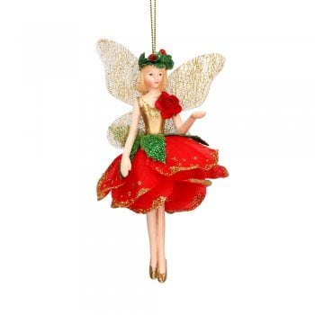 Gisela Graham Red Rose Fairy (hand out) Christmas Tree Decoration