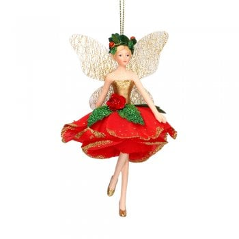 Gisela Graham Red Rose Fairy (skipping) Christmas Tree Decoration