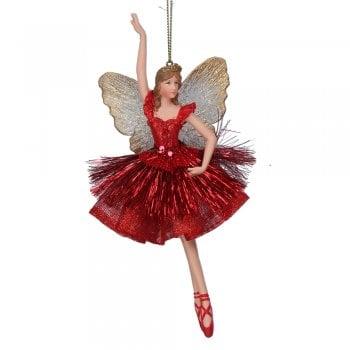 Gisela Graham Red Sparkle Ballerina Fairy (arm up) Christmas Tree Decoration