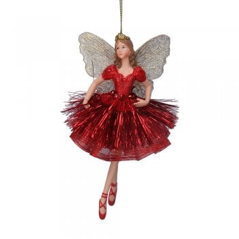 Gisela Graham Red Sparkle Ballerina Fairy (arms down) Christmas Tree Decoration