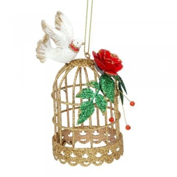 Gisela Graham Gold Metal Birdcage with Dove and Roses Christmas Tree Decoration